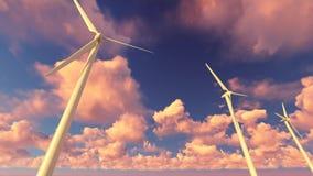 Molinoes de viento en la puesta del sol libre illustration