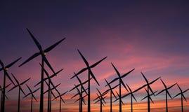 Molinoes de viento en la puesta del sol de la tarde - sustainablilty imagen de archivo libre de regalías