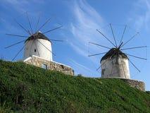 Molinoes de viento en Mykonos Fotografía de archivo libre de regalías