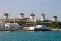 Molinoes de viento en Mykonos Foto de archivo libre de regalías