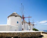 Molinoes de viento en Mykonos Fotos de archivo