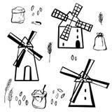 Molinoes de viento exhaustos de la mano Ejemplo del bosquejo del vector stock de ilustración