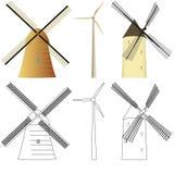 Molinoes de viento fijados stock de ilustración
