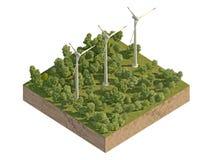 Molinoes de viento grandes en el bosque en un trozo de tierra Fotos de archivo libres de regalías