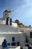 Molinoes de viento Grecia de Mykonos Fotos de archivo libres de regalías