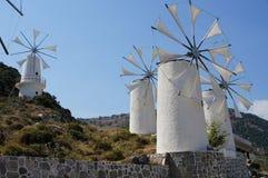 Molinoes de viento griegos Imagenes de archivo