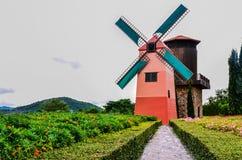 Molinoes de viento hermosos en jardín Foto de archivo libre de regalías