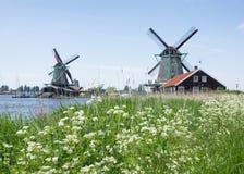 Molinoes de viento holandeses en el país Foto de archivo libre de regalías
