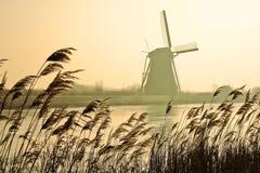 Molinoes de viento holandeses tradicionales en el amanecer fotos de archivo