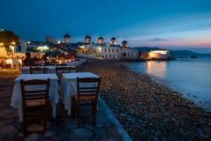 Molinoes de viento icónicos de Chora en Mykonos, Grecia Fotografía de archivo libre de regalías