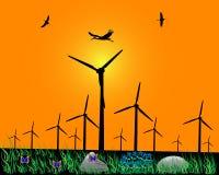 Molinoes de viento para la energía Imagen de archivo