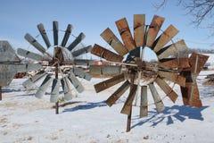 Molinoes de viento rústicos en Tejas fotografía de archivo libre de regalías