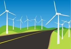 Molinoes de viento y caminos Fotos de archivo libres de regalías