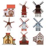 Molinoes de viento y molinos de agua tradicionales Foto de archivo libre de regalías