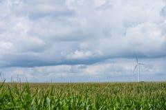 Molinos de viento en una zona rural de Indiana apagado del sixity cinco de la ruta Fotos de archivo libres de regalías