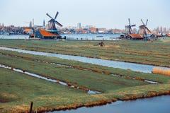 Molinos de viento en Zaanse Schans Imágenes de archivo libres de regalías
