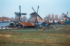Molinos de viento en Zaanse Schans Fotografía de archivo libre de regalías