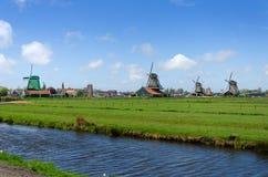 Molinos de viento rurales en Zaanse Schans Imagenes de archivo