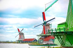 Molinos eólicos de Zaandam, Países Bajos foto de archivo libre de regalías