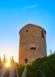 Molins d'EL de Javea Xabia au coucher du soleil dans Alicante Photo stock