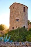 Molins del EL de Javea Xabia en la puesta del sol en Alicante Imágenes de archivo libres de regalías