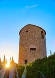 Molins del EL de Javea Xabia en la puesta del sol en Alicante Foto de archivo