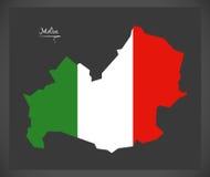 Molise map with Italian national flag illustration Royalty Free Stock Photos