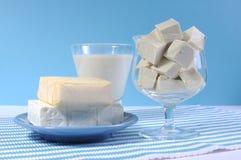 Molkereifreie Produkte, mit Sojamilch, Tofu, Sojabohnenölkäse und Ziegenkäse Stockfoto