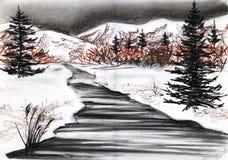 Molla in anticipo del paesaggio Abeti, montagne, fiume, campo, illustrazione grafica disegnata a mano della foresta con gesso illustrazione vettoriale