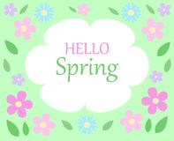 Molla floreale del testo del bacground della primavera ciao di spirito bianco e verde Immagini Stock