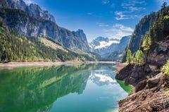 Molla meravigliosa nel lago della montagna in Gosau, alpi, Austria Immagini Stock Libere da Diritti