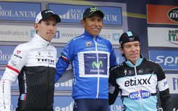 Mollema , Quintana and Uran Poduim Tirréno Adtiatico 2015 Royalty Free Stock Images
