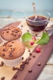 Mollete con café Imagen de archivo libre de regalías
