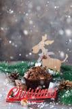 Mollete del chocolate e inscripción de la Navidad Imagen de archivo