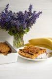 Mollete del plátano y de la zanahoria imagen de archivo