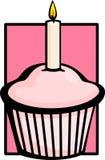 Mollete rosado del cumpleaños con la vela Fotografía de archivo libre de regalías