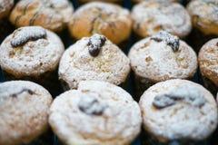 Molletes con el azúcar y la jalea de polvo Foto de archivo libre de regalías