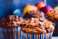 Molletes del chocolate, tortas hechas en casa por la tarde del invierno Imagenes de archivo