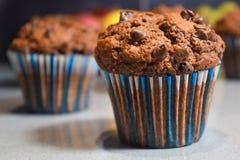 Molletes del chocolate, tortas hechas en casa por la tarde del invierno Fotografía de archivo libre de regalías
