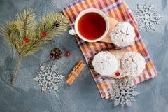 Molletes hechos en casa frescos del arándano en azúcar de formación de hielo con las ramas y el té del abeto imagen de archivo libre de regalías