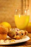 Molletes y zumo de naranja Fotografía de archivo