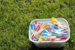 Mollette da bucato brillantemente colorate in un secchio su erba verde nel sunsh Fotografie Stock Libere da Diritti