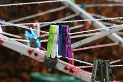 Mollette da bucato colorate Fotografia Stock Libera da Diritti
