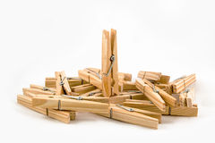 Mollette da bucato di legno Immagine Stock