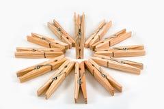 Mollette da bucato di legno Immagini Stock Libere da Diritti