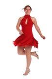 Mollig meisje in het rode kleding dansen Royalty-vrije Stock Afbeeldingen