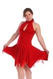 Mollig meisje in het rode kleding dansen Stock Foto's