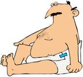 Mollige Mens in Luiers vector illustratie