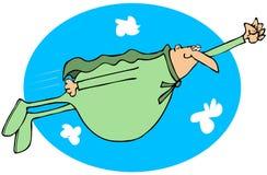 Mollige superhero die in de hemel vliegen Stock Foto's