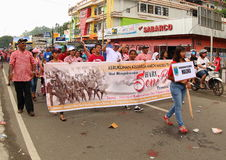 Mollucans on Art and Cultural Festival 2017. Group of people from Maluku Islands, Ambon and Ternate on a parade. First ever Art and Cultural Festival in Royalty Free Stock Photography